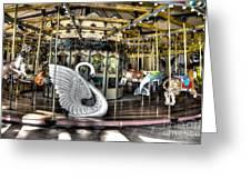 Swan Seat At The Carousel  Greeting Card by Michael Garyet