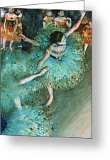 Swaying Dancer In Green Greeting Card by Pg Reproductions