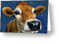 Sweet Jersey Cow Greeting Card by Dottie Dracos