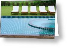 swimming pool and chairs Greeting Card by ATIKETTA SANGASAENG