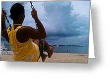 Swinging On A Stormy Sandy Beach Greeting Card by Paul SEQUENCE Ferguson             sequence dot net