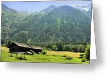 Swiss Mountain Home Greeting Card by Jeff Kolker