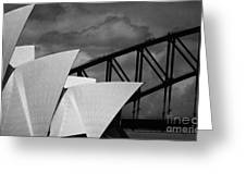 Sydney Opera House With Harbour Bridge Greeting Card by Avalon Fine Art Photography