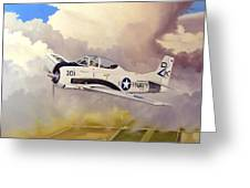 T-28 Over Iowa Greeting Card by Marc Stewart