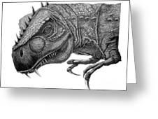 T-rex Greeting Card by Murphy Elliott