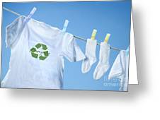 T-shirt With Recycle Logo Drying On Clothesline On A  Summer Day Greeting Card by Sandra Cunningham