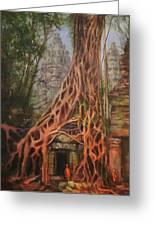 Ta Prohm Cambodia Greeting Card by Tom Shropshire