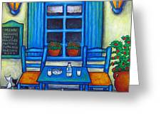 Table for Two in Greece Greeting Card by Lisa  Lorenz