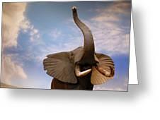 Talking Elephant Greeting Card by Marilyn Hunt