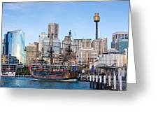Tall Ships - Sydney Harbor Greeting Card by Charles Warren