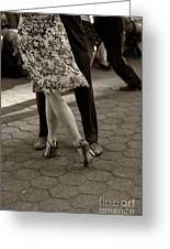 Tango In The Park Greeting Card by Leslie Leda