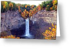 Taughannock Waterfalls In Autumn Greeting Card by Paul Ge