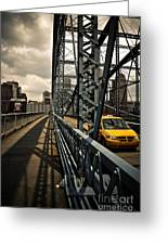 Taxi Crossing Smithfield Street Bridge Pittsburgh Pennsylvania Greeting Card by Amy Cicconi