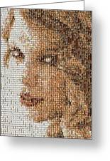 Taylor Swift Mosaic Greeting Card by Paul Van Scott