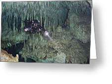 Technical Diver In Cave System, Mexico Greeting Card by Karen Doody