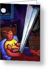 Telling Tall Tales Greeting Card by Angela Treat Lyon