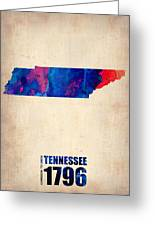 Tennessee Watercolor Map Greeting Card by Naxart Studio