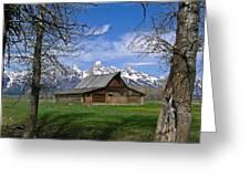 Teton Barn Greeting Card by Douglas Barnett