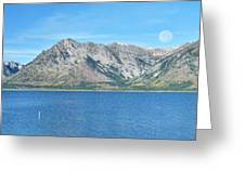 Teton Moonset Borderless Greeting Card by Greg Norrell