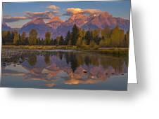 Teton Morning Mirror Greeting Card by Joseph Rossbach