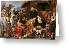 The Adoration Of The Magi Greeting Card by Jacob Jordaens