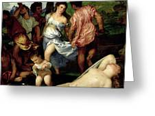 The Andrians Greeting Card by Titian