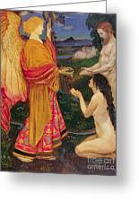 The Angel Offering The Fruits Of The Garden Of Eden To Adam And Eve Greeting Card by JBL Shaw