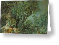 The Angler Greeting Card by Francois Boucher