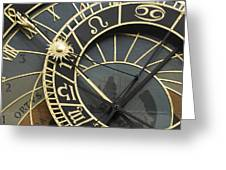 The Astronomical Clock In Prague Greeting Card by Liz Pinchen