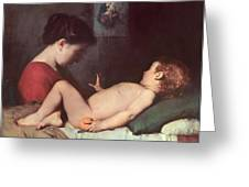 The Awakening Child Greeting Card by Jean Jacques Henner