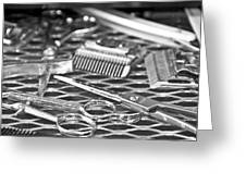 The Barber Shop 10 BW Greeting Card by Angelina Vick