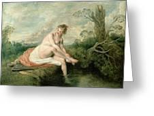 The Bath Of Diana Greeting Card by Jean Antoine Watteau