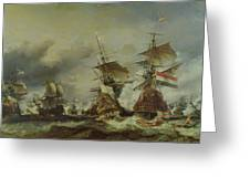The Battle of Texel Greeting Card by Louis Eugene Gabriel Isabey