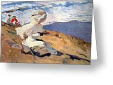 The Beach At Biarritz Greeting Card by Joaquin Sorolla