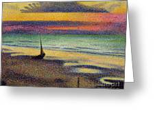 The Beach at Heist Greeting Card by Georges Lemmen