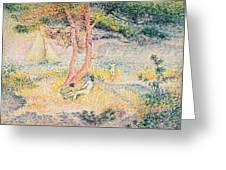 The Beach at St Clair Greeting Card by Henri-Edmond Cross
