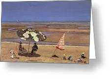 The Beach Greeting Card by Etienne Moreau Nelaton