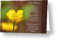 The Beautiful Buttercup Poem Greeting Card by Tracie Kaska