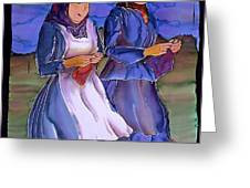 The Blowing Skirts of Ladies Greeting Card by Carolyn Doe