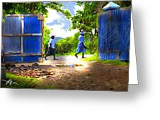 the blue gate Greeting Card by Bob Salo
