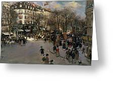 The Boulevard Des Italiens Greeting Card by Jean Francois Raffaelli