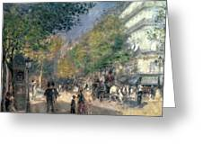 The Boulevards  Greeting Card by Pierre Auguste Renoir