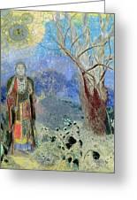The Buddha Greeting Card by Odilon Redon
