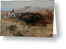 The Buffalo Hunt Greeting Card by Charles Russell