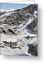 The Busy Chaudanne In Meribel The Heart Of Meribel In The Three Valleys Resort France Greeting Card by Andy Smy