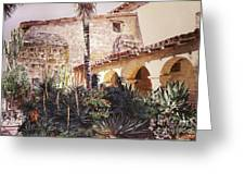 The Cactus Courtyard - Mission Santa Barbara Greeting Card by David Lloyd Glover