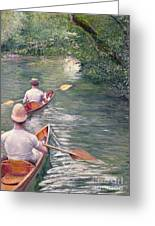 The Canoes Greeting Card by Gustave Caillebotte