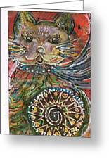 The Cat And The Wheel Greeting Card by Anne-Elizabeth Whiteway