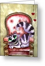 The Cheshire Cat - Lovely Sofa Greeting Card by Lucia Stewart