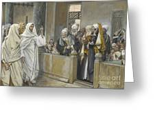 The Chief Priests Ask Jesus By What Right Does He Act In This Way Greeting Card by James Jacques Joseph Tissot